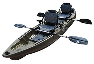 BKC-TK122-12.9'-Tandem-Fishing-Kayak-with-Upright-Aluminum-Frame